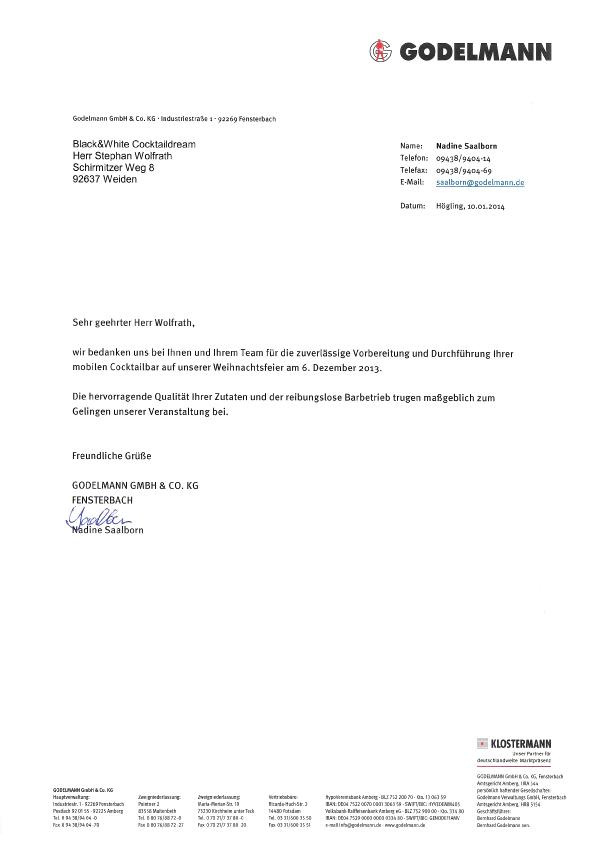 Dankesbrief der Firma Godelmann für die Betreuung ihrer Weihnachtsfeier