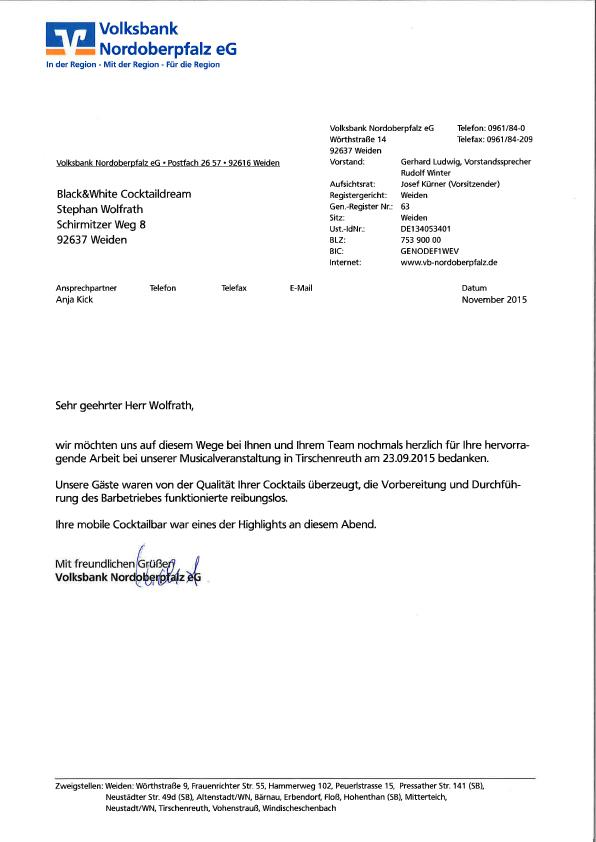 Dankesbrief der Volksbank Nordoberpfalz für die Betreuung der Musicalveranstaltung.